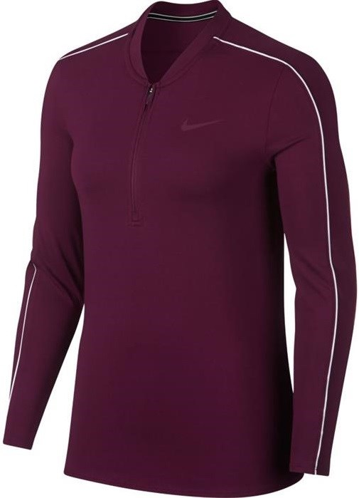 Футболка женская Nike Court Dry 1/2 Zip Bordeaux/White  939322-609  fa18 - фото 11604