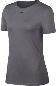 Футболка женская Nike Pro Short Sleeve Grey/Black  AO9951-056