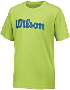 Футболка для мальчиков Wilson Script Cotton Green Glow/Deep Water  WRA752501  fa17