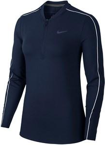 Футболка женская Nike Court Dry 1/2 Zip Obsidian/White  939322-451  su20