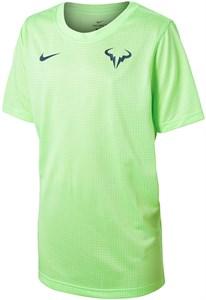 Футболка для мальчиков Nike Court Rafa Crew Lime Glow/Obsidian DD2304-345  sp21